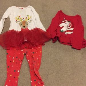 Bundle of 24 months 2T Christmas pjs and shirt